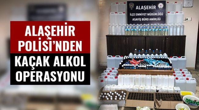 Alaşehir'de 297 litre kaçak alkol ele geçirildi