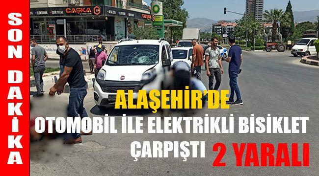 Alaşehir'de otomobil ile elektrikli bisiklet çarpıştı : 2 Yaralı